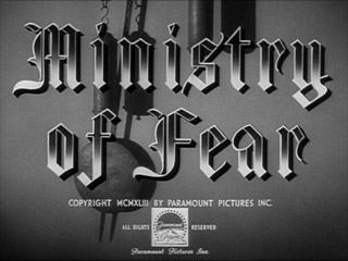 Ministry of Fear Film noir movie title